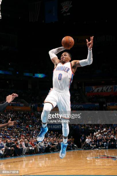 Russell Westbrook of the Oklahoma City Thunder goes for the dunk during the game against the Chicago Bulls on February 1 2017 at Chesapeake Energy...