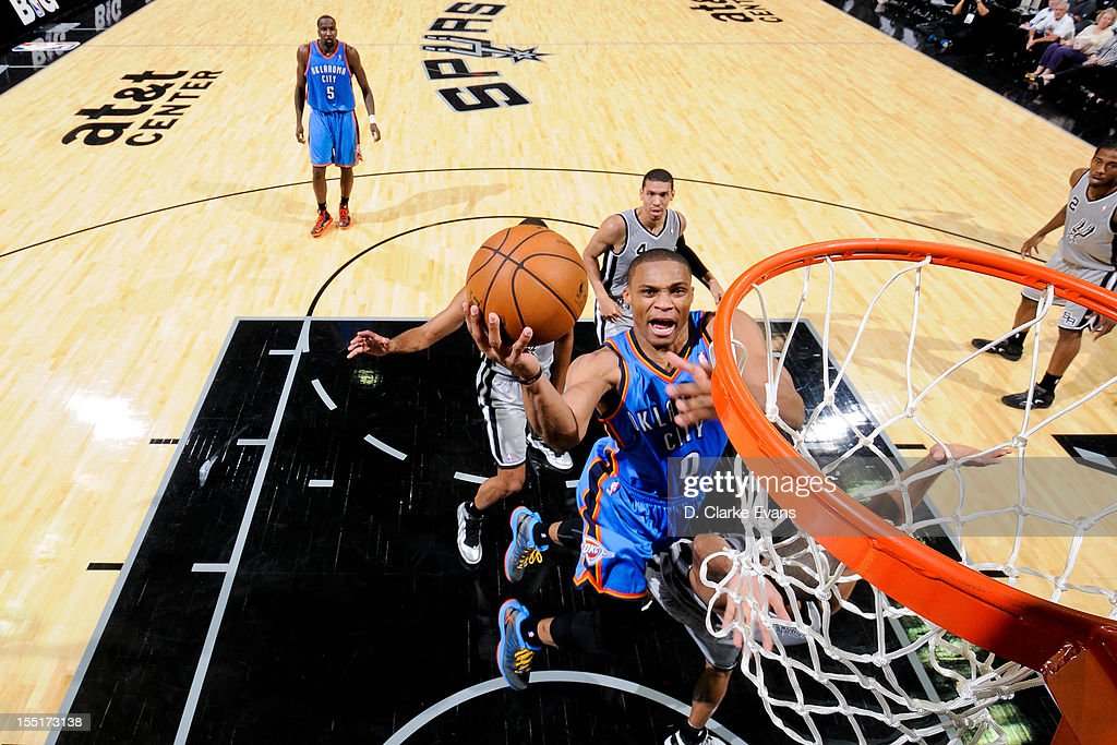 <a gi-track='captionPersonalityLinkClicked' href=/galleries/search?phrase=Russell+Westbrook&family=editorial&specificpeople=4044231 ng-click='$event.stopPropagation()'>Russell Westbrook</a> #0 of the Oklahoma City Thunder goes to the basket against the San Antonio Spurs on November 1, 2012 at the AT&T Center in San Antonio, Texas.