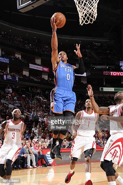 Russell Westbrook of the Oklahoma City Thunder goes to the basket against the Houston Rockets on November 2 2015 at the Toyota Center in Houston...