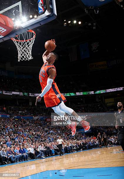 Russell Westbrook of the Oklahoma City Thunder goes to the basket against the Phoenix Suns on November 8 2015 at Chesapeake Energy Arena in Oklahoma...