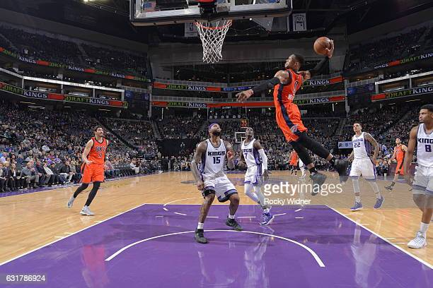 Russell Westbrook of the Oklahoma City Thunder goes to the basket against the Sacramento Kings on January 15 2017 at Golden 1 Center in Sacramento...