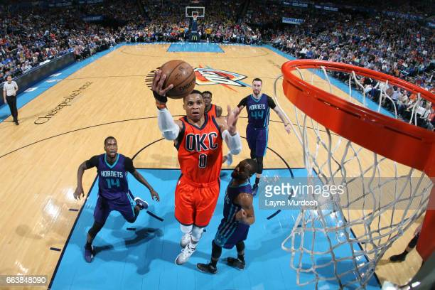 Russell Westbrook of the Oklahoma City Thunder goes to the basket against the Charlotte Hornets on April 2 2017 at Chesapeake Energy Arena in...