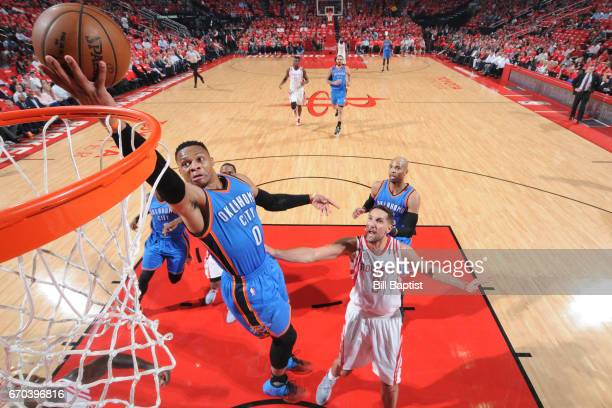 Russell Westbrook of the Oklahoma City Thunder goes to the basket against the Houston Rockets during Game Two of the Western Conference Quarterfinals...