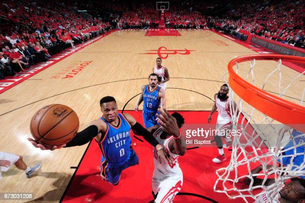 Russell Westbrook of the Oklahoma City Thunder goes to the basket against the Houston Rockets in Game Five of the Western Conference Quarterfinals of...
