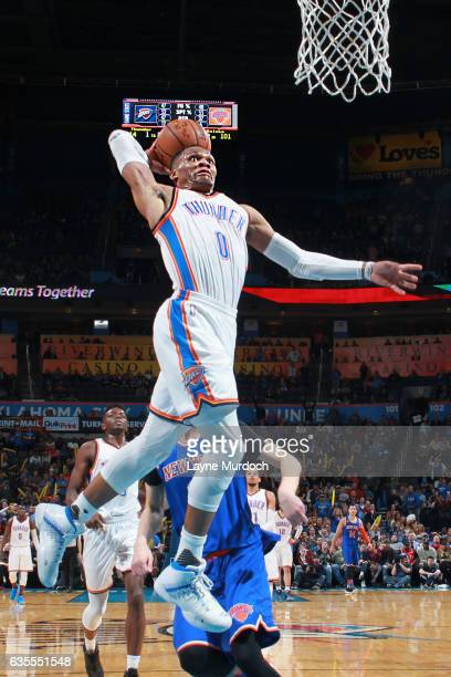 Russell Westbrook of the Oklahoma City Thunder goes up for a dunk during a game against the New York Knicks on February 15 2017 at Chesapeake Energy...