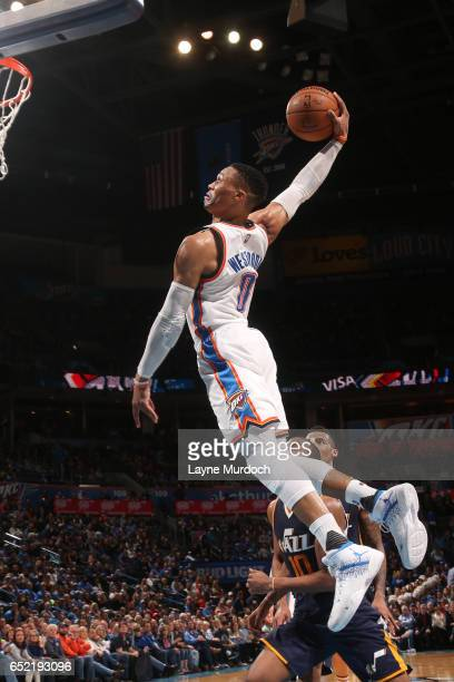 Russell Westbrook of the Oklahoma City Thunder goes up for a dunk during a game against the Utah Jazz on March 11 2017 at Chesapeake Energy Arena in...