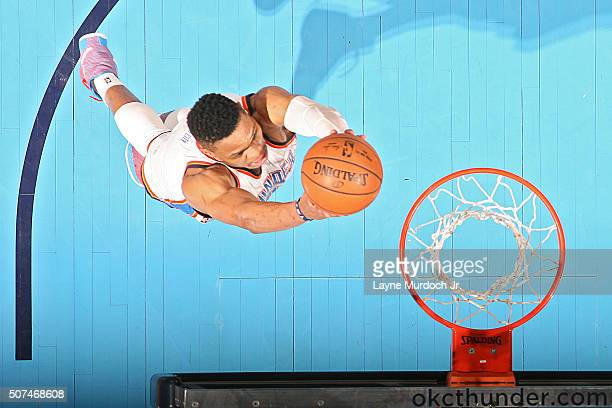 Russell Westbrook of the Oklahoma City Thunder goes up for a dunk against the Houston Rockets on January 29 2016 at Chesapeake Energy Arena in...