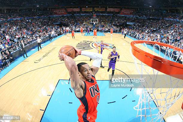 Russell Westbrook of the Oklahoma City Thunder goes up for a dunk against the Los Angeles Lakers on October 30 2016 at Chesapeake Energy Arena in...