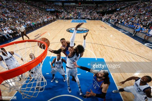 Russell Westbrook of the Oklahoma City Thunder goes up for a shot during a game against the Dallas Mavericks on March 27 2017 at American Airlines...