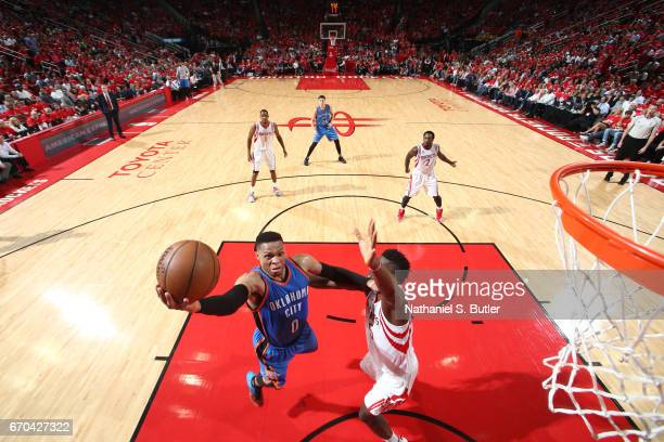 Russell Westbrook of the Oklahoma City Thunder goes up for a shot against the Houston Rockets during Game Two of the Western Conference Quarterfinals...