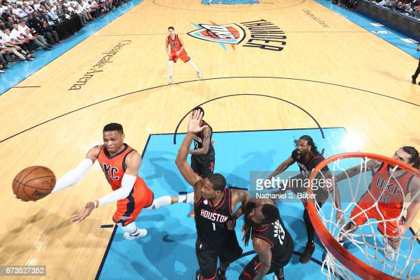 Russell Westbrook of the Oklahoma City Thunder goes up for a shot against the Houston Rockets during Game Four of the Western Conference...