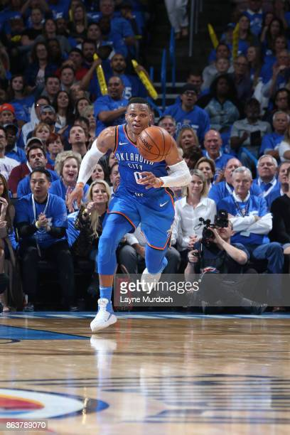 Russell Westbrook of the Oklahoma City Thunder grabs a loose ball and starrts a fast break against the New York Knick on October 19 2017 at...