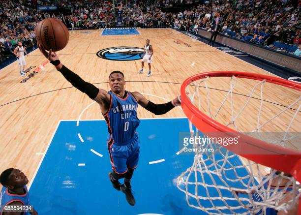 Russell Westbrook of the Oklahoma City Thunder grabs the rebound during a game against the Dallas Mavericks on March 27 2017 at American Airlines...
