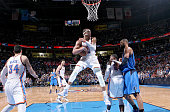 Russell Westbrook of the Oklahoma City Thunder grabs the rebound against the Dallas Mavericks on April 1 2015 at the Chesapeake Energy Arena in...