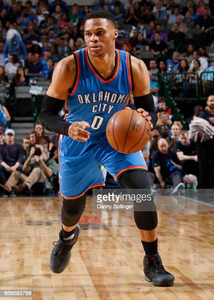 Russell Westbrook of the Oklahoma City Thunder handles the ball during a game against the Dallas Mavericks on March 27 2017 at American Airlines...