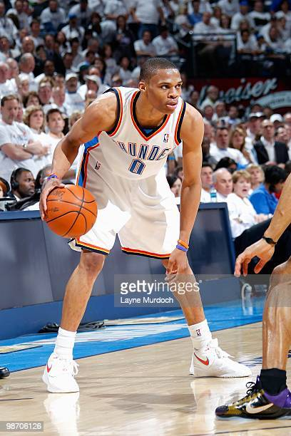Russell Westbrook of the Oklahoma City Thunder handles the ball in Game Four of the Western Conference Quarterfinals against the Los Angeles Lakers...