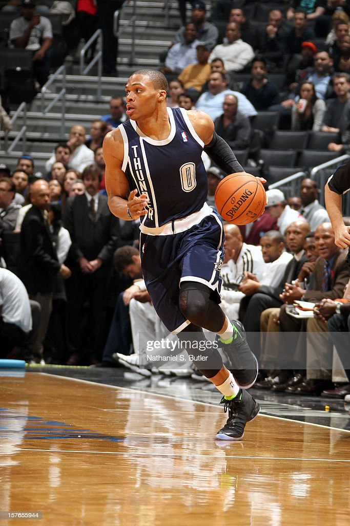 <a gi-track='captionPersonalityLinkClicked' href=/galleries/search?phrase=Russell+Westbrook&family=editorial&specificpeople=4044231 ng-click='$event.stopPropagation()'>Russell Westbrook</a> #0 of the Oklahoma City Thunder handles the ball against the Brooklyn Nets on December 4, 2012 at the Barclays Center in the Brooklyn Borough of New York City.