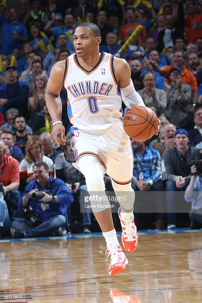 <a gi-track='captionPersonalityLinkClicked' href=/galleries/search?phrase=Russell+Westbrook&family=editorial&specificpeople=4044231 ng-click='$event.stopPropagation()'>Russell Westbrook</a> #0 of the Oklahoma City Thunder handles the ball against the Houston Rockets during an NBA game on March 11, 2014 at the Chesapeake Energy Arena in Oklahoma City, Oklahoma.