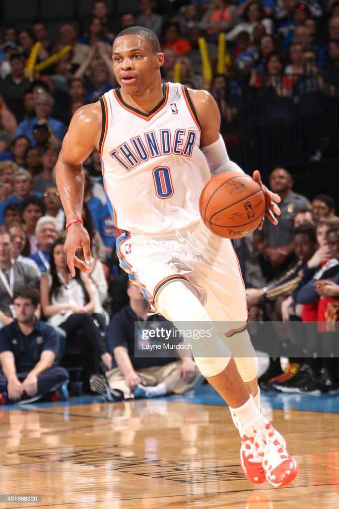 <a gi-track='captionPersonalityLinkClicked' href=/galleries/search?phrase=Russell+Westbrook&family=editorial&specificpeople=4044231 ng-click='$event.stopPropagation()'>Russell Westbrook</a> #0 of the Oklahoma City Thunder handles the ball against the New Orleans Pelicans on April 11, 2014 at the Chesapeake Energy Arena in Oklahoma City, Oklahoma.