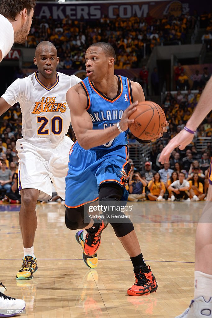 <a gi-track='captionPersonalityLinkClicked' href=/galleries/search?phrase=Russell+Westbrook&family=editorial&specificpeople=4044231 ng-click='$event.stopPropagation()'>Russell Westbrook</a> #0 of the Oklahoma City Thunder handles the ball against the Los Angeles Lakers at STAPLES Center on March 9, 2014 in Los Angeles, California.