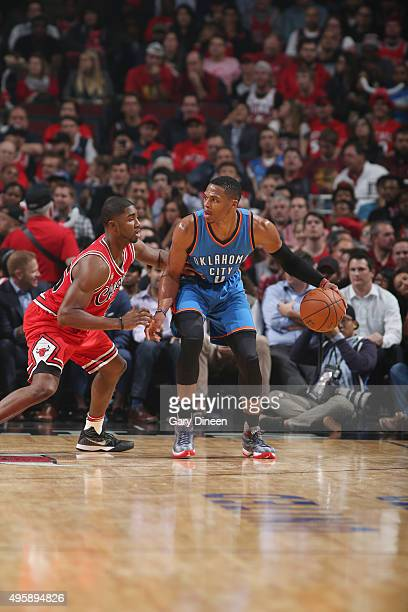 Russell Westbrook of the Oklahoma City Thunder handles the ball against the Chicago Bulls on November 5 2015 at the United Center in Chicago Illinois...