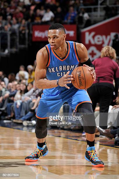Russell Westbrook of the Oklahoma City Thunder handles the ball against the Cleveland Cavaliers on December 17 2015 at The Quicken Loans Arena in...