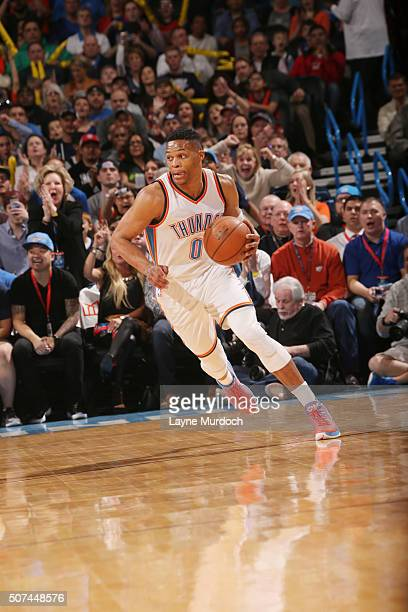 Russell Westbrook of the Oklahoma City Thunder handles the ball against the Houston Rockets on January 29 2016 at Chesapeake Energy Arena in Oklahoma...