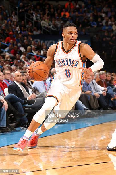 Russell Westbrook of the Oklahoma City Thunder handles the ball against the Orlando Magic on February 3 2016 at Chesapeake Energy Arena in Oklahoma...