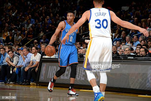 Russell Westbrook of the Oklahoma City Thunder handles the ball during the game tate Warriors on March 3 2016 at ORACLE Arena in Oakland California...