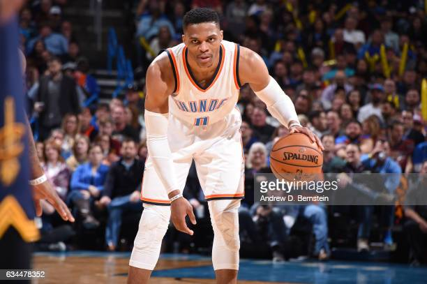 Russell Westbrook of the Oklahoma City Thunder handles the ball against the Cleveland Cavaliers during the game on February 9 2017 at Chesapeake...