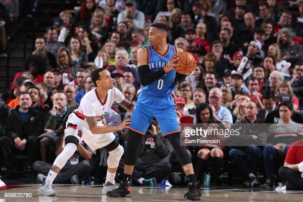 Russell Westbrook of the Oklahoma City Thunder handles the ball during the game against the Portland Trail Blazers on March 2 2017 at the Moda Center...