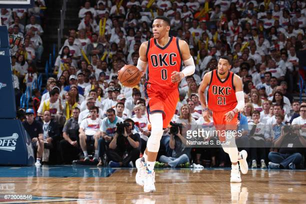 Russell Westbrook of the Oklahoma City Thunder handles the ball against the Houston Rockets during Game Four of the Western Conference Quarterfinals...