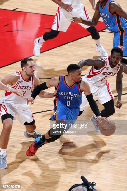 Russell Westbrook of the Oklahoma City Thunder handles the ball during the game against the Houston Rockets in Game Five of the Western Conference...