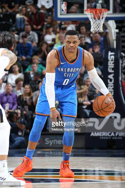Russell Westbrook of the Oklahoma City Thunder handles the ball against the Utah Jazz during the game on October 21 2017 at vivintSmartHome Arena in...