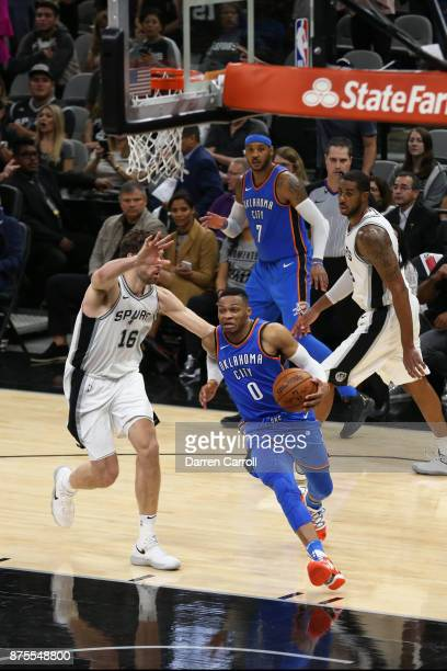 Russell Westbrook of the Oklahoma City Thunder handles the ball against the San Antonio Spurs on November 17 2017 at the ATT Center in San Antonio...