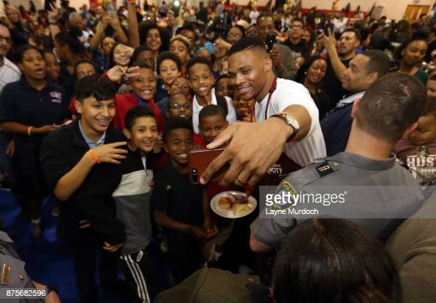Russell Westbrook of the Oklahoma City Thunder hosts his 6th Annual Thanksgiving Dinner on November 14 2017 at the Boys and Girls Club in Oklahoma...