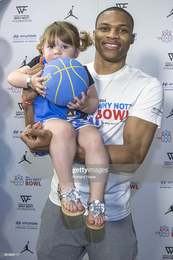 Russell Westbrook #0 of the Oklahoma City Thunder hosts his annual Why Not Foundation fundraiser to benefit the Boys and Girls Club at AMC Boulevard Bowl in Edmond, Oklahoma.