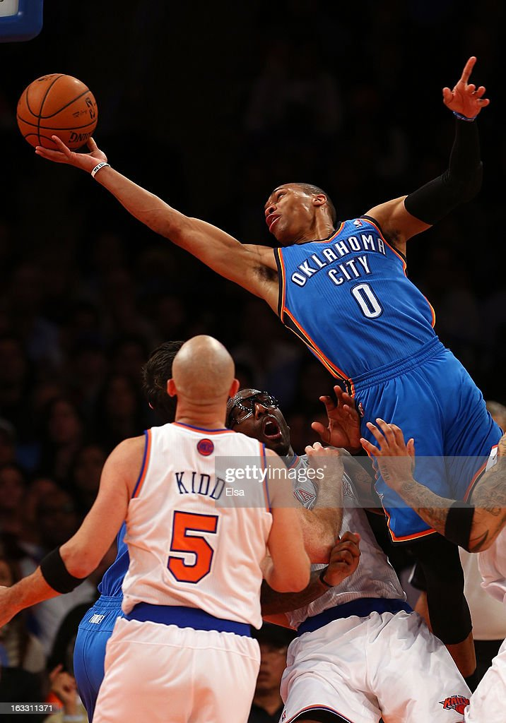 Russell Westbrook #0 of the Oklahoma City Thunder is called for an offensive foul as he collides with Amar'e Stoudemire #1 of the New York Knicks March 7, 2013 at Madison Square Garden in New York City. The Oklahoma City Thunder defeated the New York Knicks 95-94.