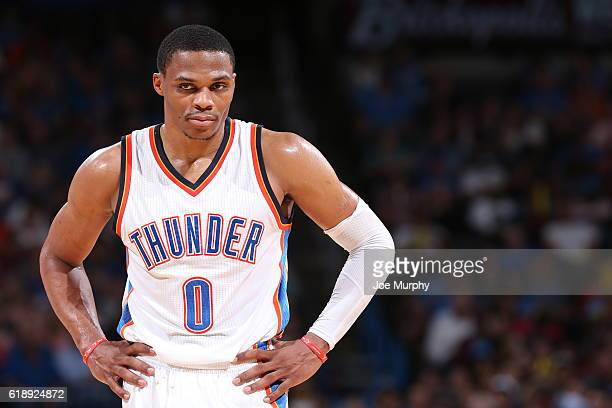 Russell Westbrook of the Oklahoma City Thunder is seen against the Phoenix Suns on October 28 2016 at the Chesapeake Energy Arena in Oklahoma City...