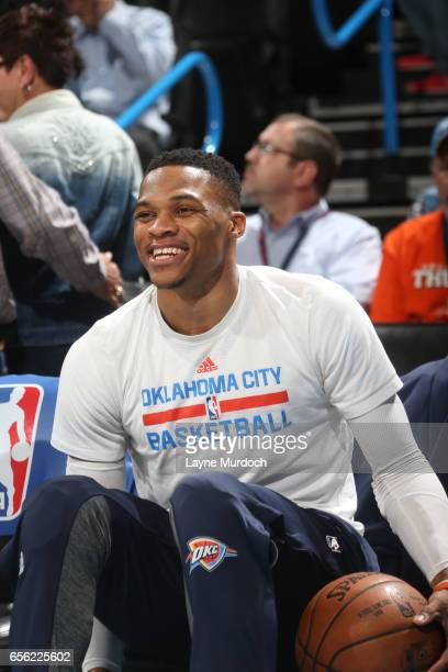 Russell Westbrook of the Oklahoma City Thunder is seen before the game against the Golden State Warriors on March 20 2017 at Chesapeake Energy Arena...