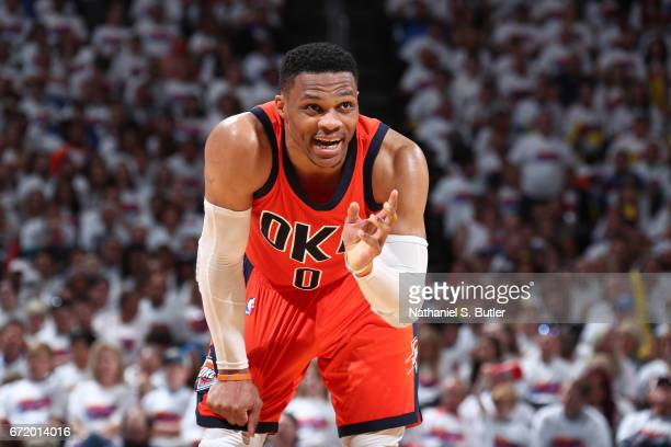 Russell Westbrook of the Oklahoma City Thunder is seen during Game Four of the Western Conference Quarterfinals of the 2017 NBA Playoffs on April 23...