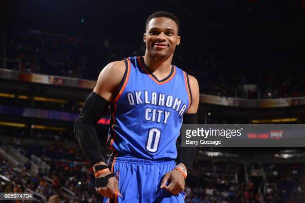 Russell Westbrook of the Oklahoma City Thunder is seen during the game against the Phoenix Suns on April 7 2017 at Talking Stick Resort Arena in...