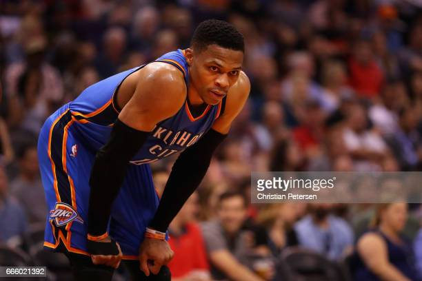 Russell Westbrook of the Oklahoma City Thunder leans in during the second half of the NBA game against the Phoenix Suns at Talking Stick Resort Arena...