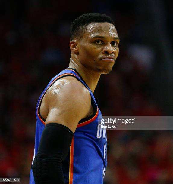 Russell Westbrook of the Oklahoma City Thunder looks at the Houston fans after making a threepoint shot during Game Five of the Western Conference...
