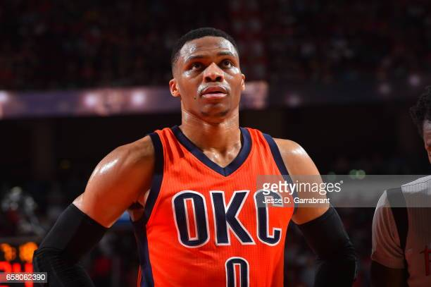 Russell Westbrook of the Oklahoma City Thunder looks on against the Houston Rockets on March 26 2017 at the Toyota Center in Houston Texas NOTE TO...