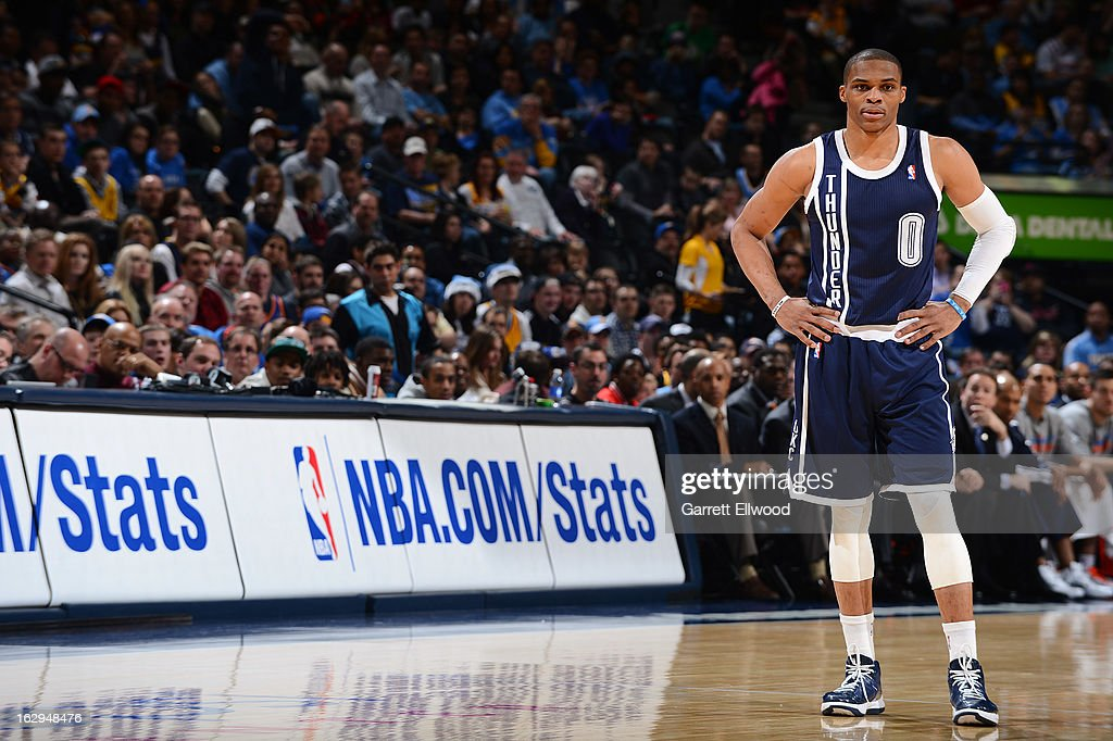 Russell Westbrook #0 of the Oklahoma City Thunder looks on during a game against the Denver Nuggets on March 1, 2013 at the Pepsi Center in Denver, Colorado.
