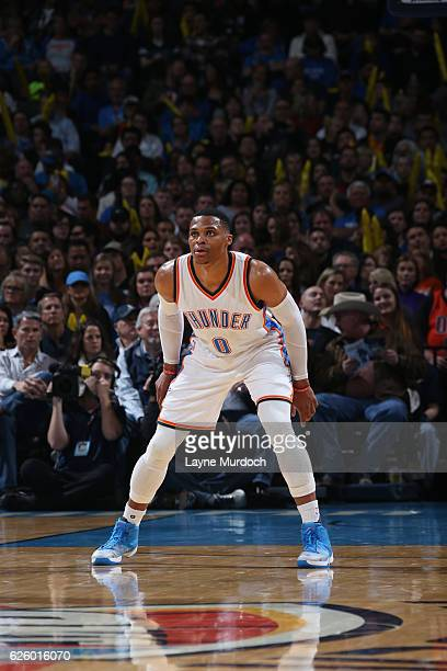 Russell Westbrook of the Oklahoma City Thunder looks on during a game against the Detroit Pistons on November 26 2016 at Chesapeake Energy Arena in...