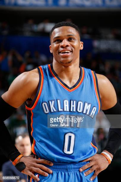 Russell Westbrook of the Oklahoma City Thunder looks on during a game against the Dallas Mavericks on March 27 2017 at American Airlines Center in...