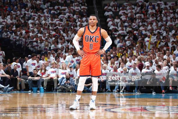 Russell Westbrook of the Oklahoma City Thunder looks on during Game Four of the Western Conference Quarterfinals of the 2017 NBA Playoffs on April 23...