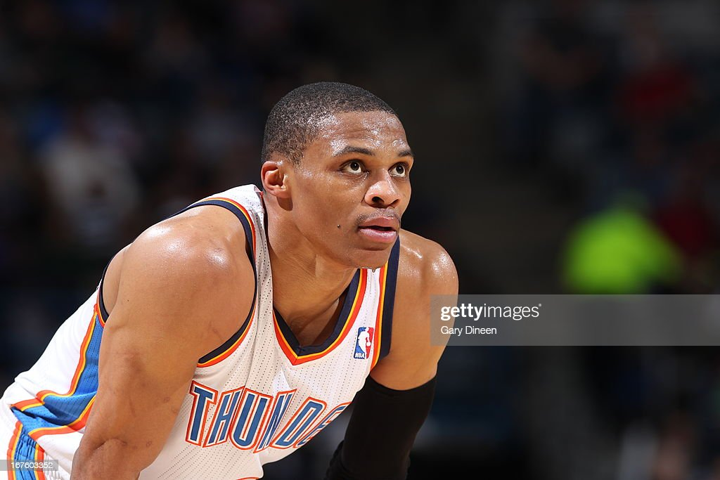 <a gi-track='captionPersonalityLinkClicked' href=/galleries/search?phrase=Russell+Westbrook&family=editorial&specificpeople=4044231 ng-click='$event.stopPropagation()'>Russell Westbrook</a> #0 of the Oklahoma City Thunder looks on during the game against the Milwaukee Bucks on March 30, 2013 at the BMO Harris Bradley Center in Milwaukee, Wisconsin.